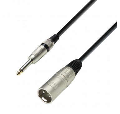 Adam Hall Cables 3 Star Series - Microphone Cable XLR male to 6.3 mm Jack mono 1 m