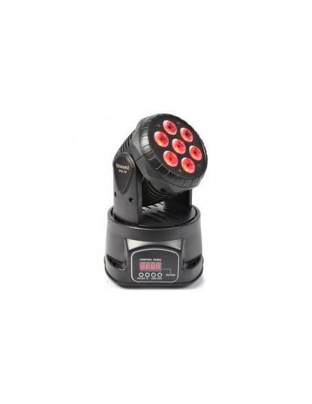 BeamZ MHL-74 Mini Cabeza Movil Wash 7X 10W DMX 12 Canales Quad LED