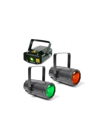 BeamZ Pack Iluminacion 2 Moon Flower Duo + Laser Rojo y Verde