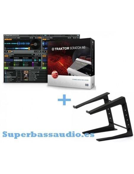 Native Instruments Traktor Scratch A6 + Adam Hall soporte portatil