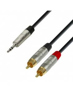 Adam Hall Cables K4 YWCC 0150 - Audio Cable REAN 3.5 mm Jack stereo to 2 x RCA male 1.5 m