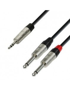 Adam Hall Cables K4 YWPP 0150 - Audio Cable REAN 3,5 mm Jack stereo to 2 x 6.3 mm Jack mono 1.5 m