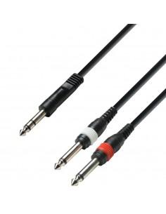 Adam Hall Cables K3YVPP0100 - Cable de Audio de Jack 6,3 mm estéreo a 2 Jacks 6,3 mm mono 1 m
