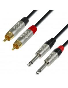 Adam Hall Cables K4TPC0150 - Cable de Audio REAN de 2 RCA macho a 2 Jacks 6,3 mm mono 1,5 m