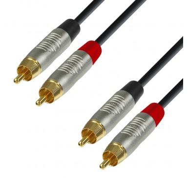 Adam Hall Cables K4TCC0150 Cable de Audio REAN de 2 RCA macho a 2 RCA macho 1,5 m