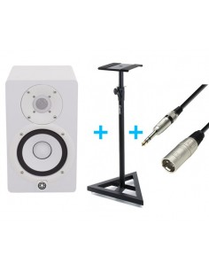 YAMAHA HS 5 W + Soporte ADAM HALL SKDB039 + CABLE XLR MALE TO 6.3 MM JACK STEREO 3 M